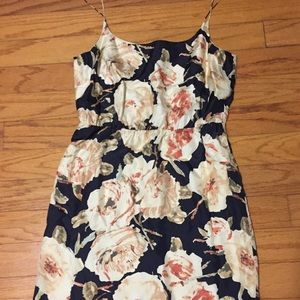 Jcrew fitted floral spaghetti strap dress